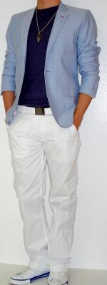 Blue Blazer Purple T-Shirt White Pants White Belt White Sneakers