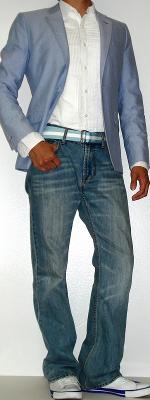 Blue Blazer White Tuxedo Shirt Blue Ribbon Belt White Shoes