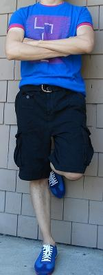 Blue Graphic Tee Black Shorts Blue Shoes