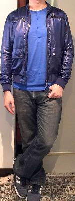 Blue Jacket Blue Button Neck T-shirt Blue Jeans Blue Sneakers