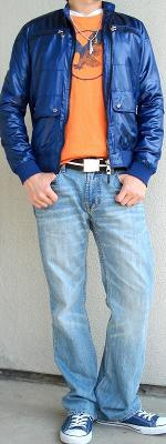 Blue Jacket Orange Graphic Tee Brown Cotton Belt Blue Sneakers
