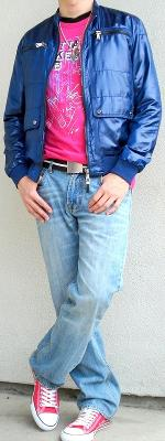 Blue Jacket Pink Graphic Tee Brown Cotton Belt Pink Sneakers
