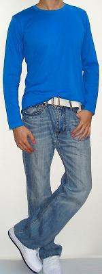Blue Long Sleeve Crew Neck T-shirt White Belt Light Blue Jeans White Shoes