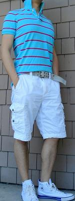 Blue Striped Polo White Shorts White Sneakers