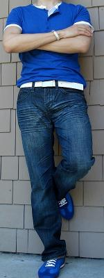 Blue T-Shirt Dark Blue Jeans Blue Shoes
