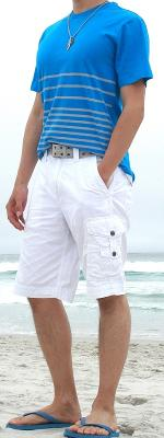 Blue T-Shirt White Shorts Blue Sandals