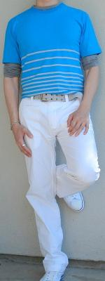 Blue Tee Gray T-Shirt Gray Belt White Pants White Shoes