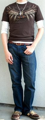 Brown Graphic Tee Brown Leather Belt Brown Shoes Beige T-Shirt
