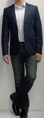 Dark Blue Blazer White Floral Shirt Dark Blue Jeans Black Belt Black Loafers