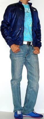 Dark Blue Jacket Light Blue Jeans Blue Graphic T-Shirt Blue Shoes White Belt