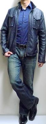 Dark Blue Leather Jacket Dark Blue Shirt Dark Blue Jeans Black Shoes Black Belt