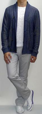 Navy Shawl Jacket White Sweater Gray Pants White Canvas Shoes