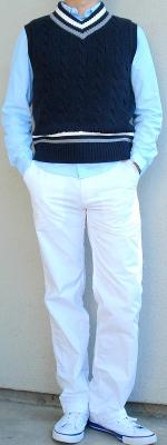 Dark Blue Sweater Vest Blue Dress Shirt White Pants White Shoes
