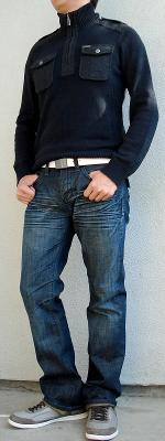 Dark Blue Sweater White Belt Gray Shoes