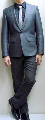 Dark Gray Blazer Black Shirt Light Gray Striped Necktie Gray Pants Black Loafers