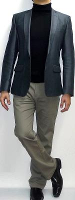 Dark Gray Blazer Black Turtleneck Khaki Pants Black Shoes