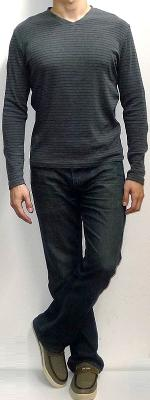 Dark Gray Long Sleeve T-shirt Dark Blue Jeans Brown Canvas Loafers