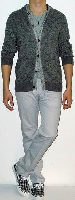 Dark Gray Marled Hooded Sweater Jacket Gray Tee White Pants Black Plaid Loafers