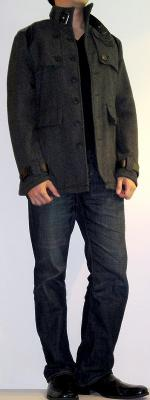Dark Gray Pea Coat Black V Neck T-Shirt Dark Blue Jeans Black Leather Loafers