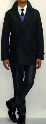 Dark Gray Peacoat Purple V-neck Sweater White Shirt Black Tie Dark Gray Dress Pants Black Dress Shoes