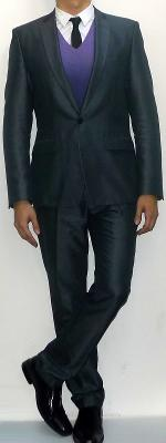 Dark Gray Suit Blazer Purple V-neck Sweater White Shirt Black Tie Dark Gray Pants Black Leather Shoes