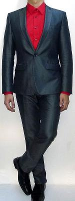 Dark Gray Suit Blazer Red Dress Shirt Black Leather Belt Dark Gray Dress Pants Black Dress Shoes
