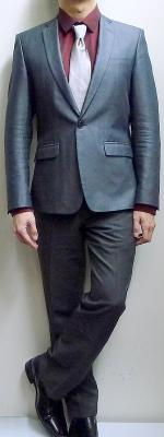 Dark Gray Suit Dark Red Dress Shirt Light Gray Necktie Black Leather Shoes