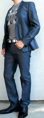 Dark Gray Suit Gray Brown Graphic Tee