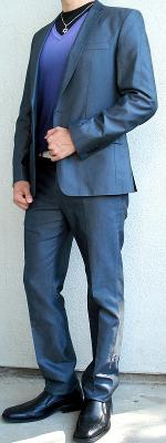 Dark Gray Suit Purple Gradient Sweater