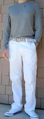 Dark Gray T-Shirt Gray Cotton Belt White Pants White Shoes