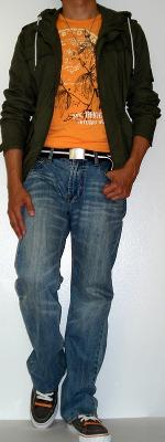 Dark Green Jacket Orange Graphic Tee Light Blue Jeans Gray Shoes Brown Cotton Belt