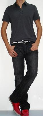 Dark Grey Polo Black White Belt Black Jeans Red Shoes