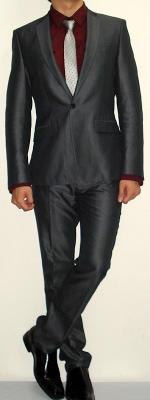Dark Grey Suit Dark Red Shirt Silver Striped Tie Black Leather Shoes