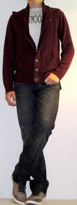 Dark Red Cardigan White T-Shirt Black Jeans Grey Casual Shoes