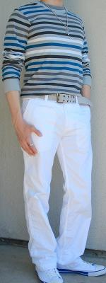 Gray Blue Striped T-Shirt White Pants White Shoes Gray Belt