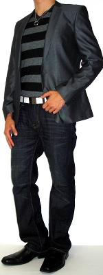 Gray Silk Suit Jacket Black Striped Sweater Black Dress Shoes