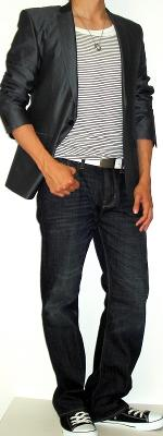 Gray Suit Jacket Black Striped Tank Vest White Leather Shoes Black Sneakers