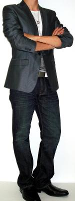 Gray Suit Jacket White Graphic Tee White Leather Jacket Black Dress Shoes