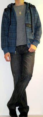 Gray T-Shirt Blue Checked Hooded Jacket Black Jeans Black Casual Sneakers