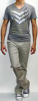 Gray V-neck Graphic Tee Khaki Pants Gray Canvas Shoes