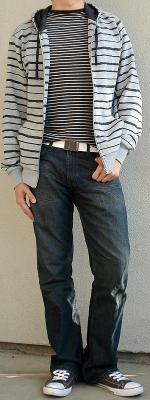 Gray Zip Jacket Gray Shoes Black Striped T-Shirt White Leather Belt
