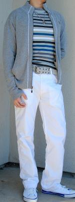 Gray Zip Sweater White Pants White Shoes Gray White Black Striped T-Shirt
