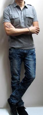 Grey Military Polo Shirt Blue Snow Jeans Black Canvas Sneakers
