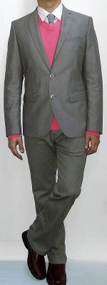 Khaki Suit Jacket Pink V-neck Sweater Silver Tie White Shirt Khaki Pants Brown Leather Shoes