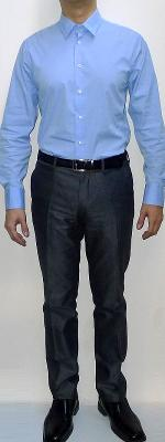 Light Blue Dress Shirt Black Leather Belt Dark Gray Suit Pants Black Dress Shoes