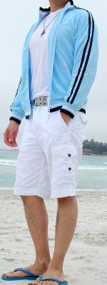 Light Blue Jacket White Shorts Blue Flip Flops