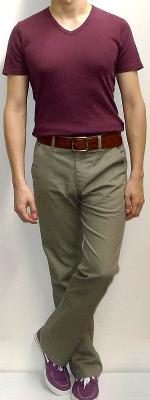 Maroon V-neck T-shirt Khaki Pants Brown Belt Purple Canvas Shoes