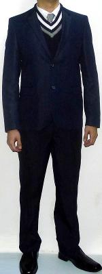 Navy Blazer Navy V-neck Sweater Silver Tie White Shirt Navy Dress Pants Black Leather Shoes