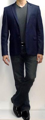 Navy Blazer Dark Gray T-shirt Dark Blue Jeans Black Loafers Black Belt