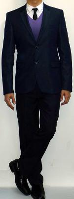 Navy Suit Blazer Purple V-neck Sweater White Shirt Black Tie Navy Pants Black Dress Shoes
